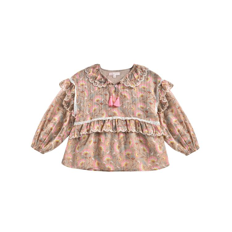 Blouse Gaita Khaki folk flowers