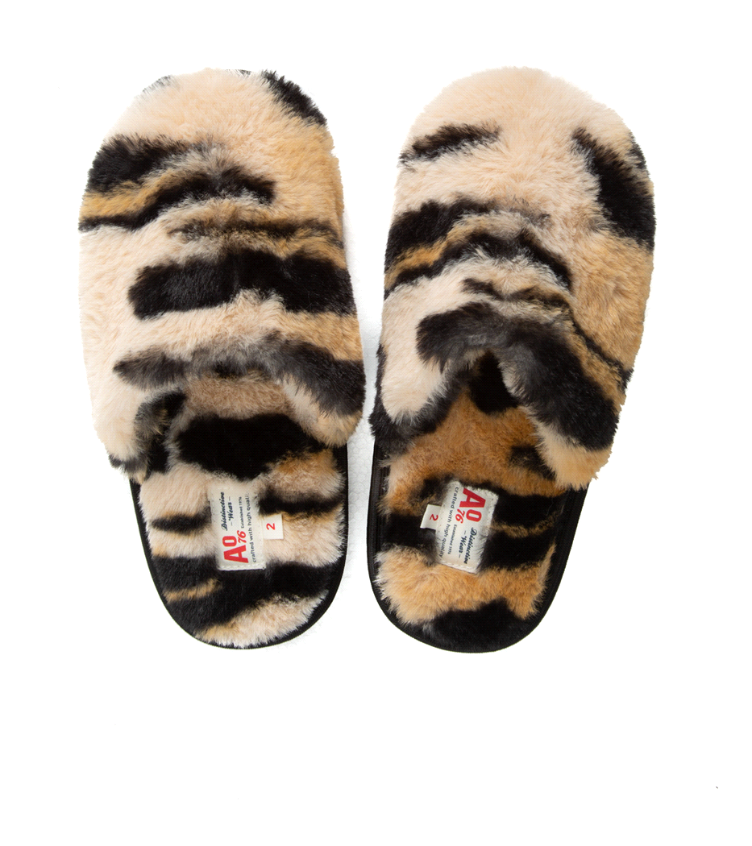 fur slippers seppia