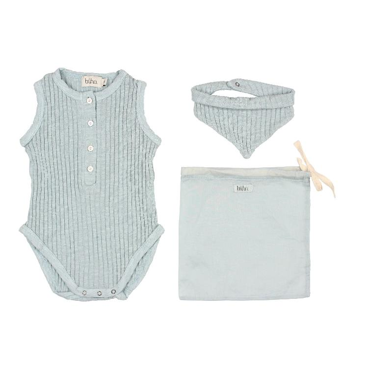 Set holiday baby romper misty blue