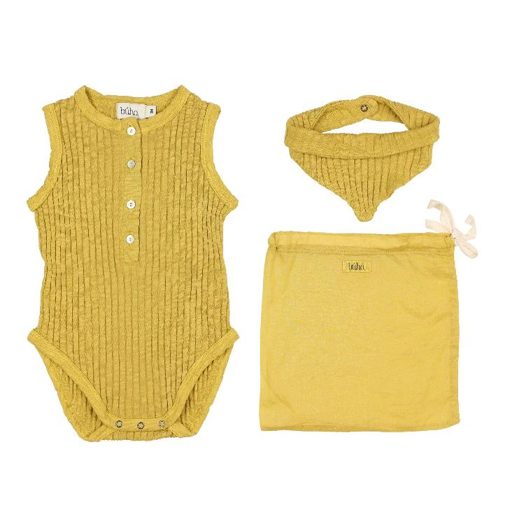 Set holiday baby romper ocre