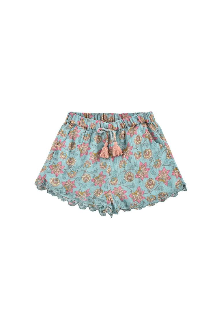 Shorts Vallaloid turquoise flowers
