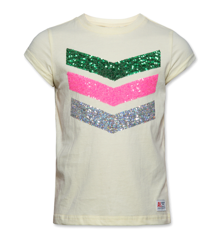 t shirt c-neck sequins yellow